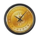 Bitcoins-3 Large Wall Clock