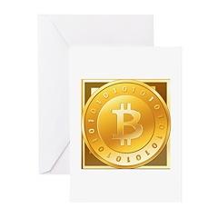 Bitcoins-3 Greeting Cards (Pk of 10)
