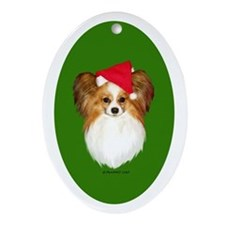 Papillon Christmas Ornament (Oval)