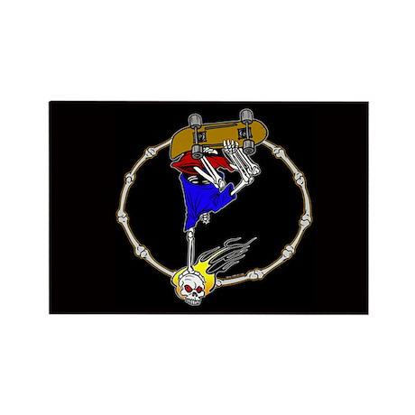 Skull Skateboarder black Rectangle Magnet