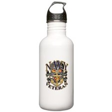 US Navy Veteran Skull Water Bottle