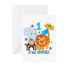 First Birthday Jungle Greeting Cards (Pk of 20)