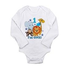First Birthday Jungle Long Sleeve Infant Bodysuit