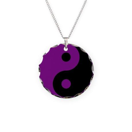 Purple-Black Yin Yang Necklace Circle Charm