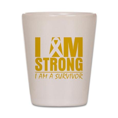 I am Strong Appendix Cancer Shot Glass