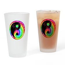 Rainbow Spiral Yin Yang Pint Glass