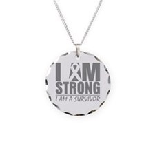 I am Strong Brain Cancer Necklace Circle Charm
