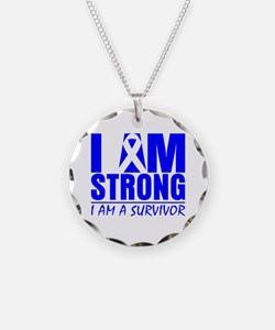 I am Strong Colon Cancer Necklace Circle Charm