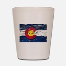 Colorado retro wash flag Shot Glass
