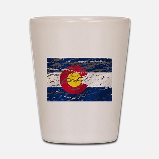 Colorado retro wash flag Shot Glass