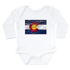 Colorado retro wash flag Long Sleeve Infant Bodysu