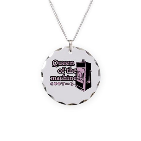 Queen of the machine Necklace Circle Charm