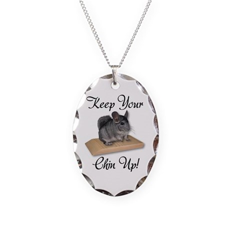 Keep Your Chin Up Necklace Oval Charm