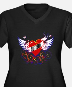 Dark Autism Wings Tshirts Women's Plus Size V-Neck