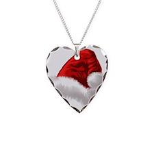 Christmas Santa Hat Necklace Heart Charm