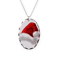 Christmas Santa Hat Necklace Oval Charm