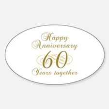 Stylish 60th Anniversary Sticker (Oval)