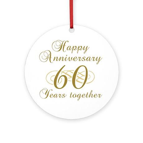 Stylish 60th Anniversary Ornament (Round)