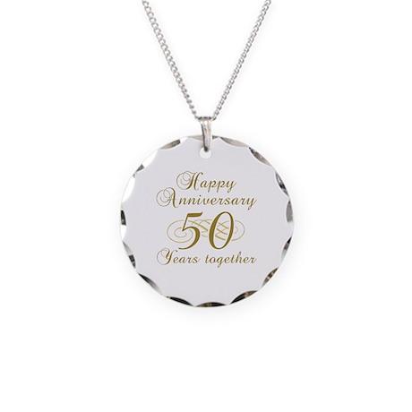 Stylish 50th Anniversary Necklace Circle Charm