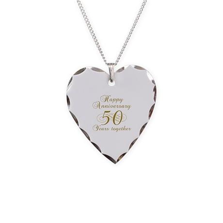 Stylish 50th Anniversary Necklace Heart Charm