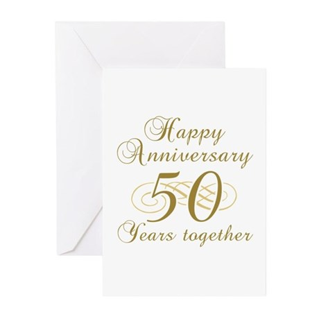 Stylish 50th Anniversary Greeting Cards (Pk of 20)