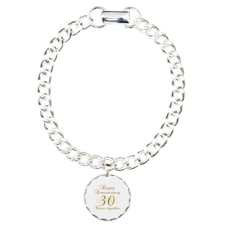 Stylish 30th Anniversary Charm Bracelet, One Charm