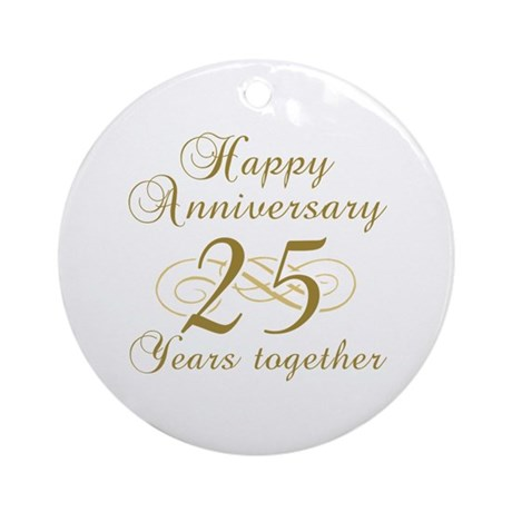 Stylish 25th Anniversary Ornament (Round)