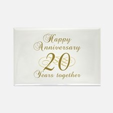Stylish 20th Anniversary Rectangle Magnet (100 pac