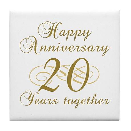 Stylish 20th Anniversary Tile Coaster