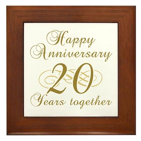 Stylish 20th Anniversary Framed Tile