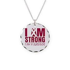 I am Strong Multiple Myeloma Necklace Circle Charm
