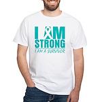 I am Strong Ovarian Cancer White T-Shirt