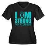 I am Strong Ovarian Cancer Women's Plus Size V-Nec