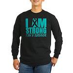 I am Strong Ovarian Cancer Long Sleeve Dark T-Shir