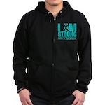 I am Strong Ovarian Cancer Zip Hoodie (dark)