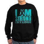 I am Strong Ovarian Cancer Sweatshirt (dark)