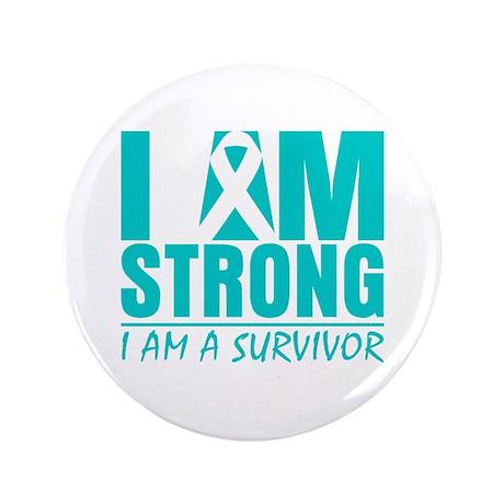 "I am Strong Ovarian Cancer 3.5"" Button (100 pack)"