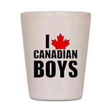 i heart canadian boys Shot Glass