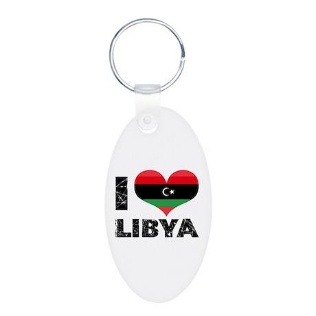 i heart libya Aluminum Oval Keychain