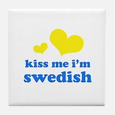 kiss me i'm swedish Tile Coaster