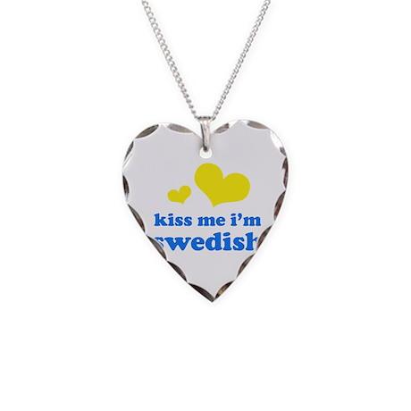 kiss me i'm swedish Necklace Heart Charm