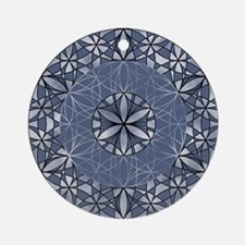Sacred Geometry in Blue Ornament (Round)