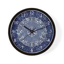 Sacred Geometry in Blue Wall Clock