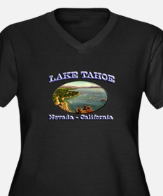 Lake Tahoe Women's Plus Size V-Neck Dark T-Shirt
