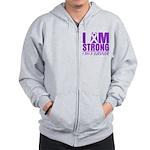 I am Strong Pancreatic Cancer Zip Hoodie