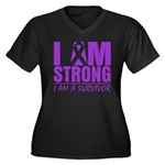 I am Strong Pancreatic Cancer Women's Plus Size V-