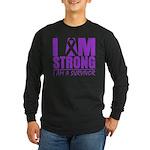 I am Strong Pancreatic Cancer Long Sleeve Dark T-S