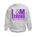 I am Strong Pancreatic Cancer Kids Sweatshirt