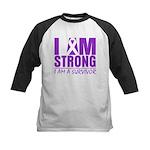 I am Strong Pancreatic Cancer Kids Baseball Jersey