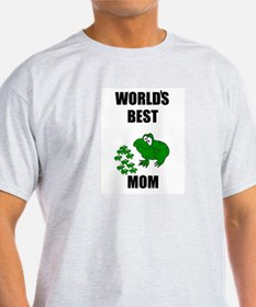 WORLD'S BEST MOM (FROGS) Ash Grey T-Shirt